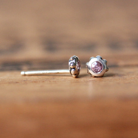 Pink Sapphire Stud Earrings - Wrought Collection