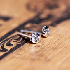 2mm Stud Earrings - More Stones Available