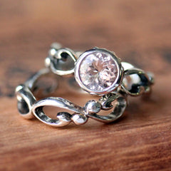 A look at both sections of this morganite engagement ring set from Metalicious