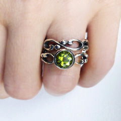 handmade-ethical-Peridot-Sterling-Silver-Wrought-Infinity-Swirl-Ring-02