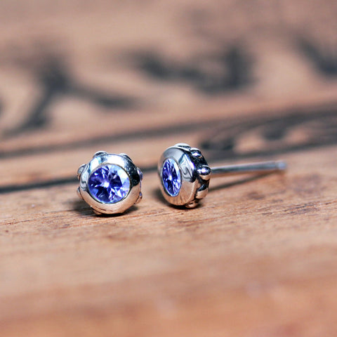 Sterling silver studs with beading and birthstones.
