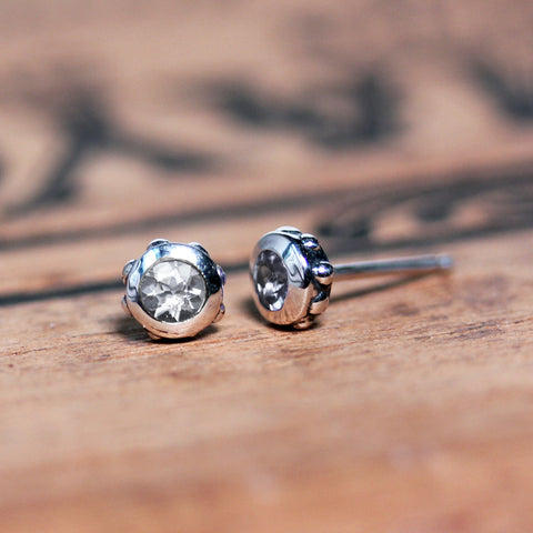 3mm Stud Earrings - Garnet or White Topaz