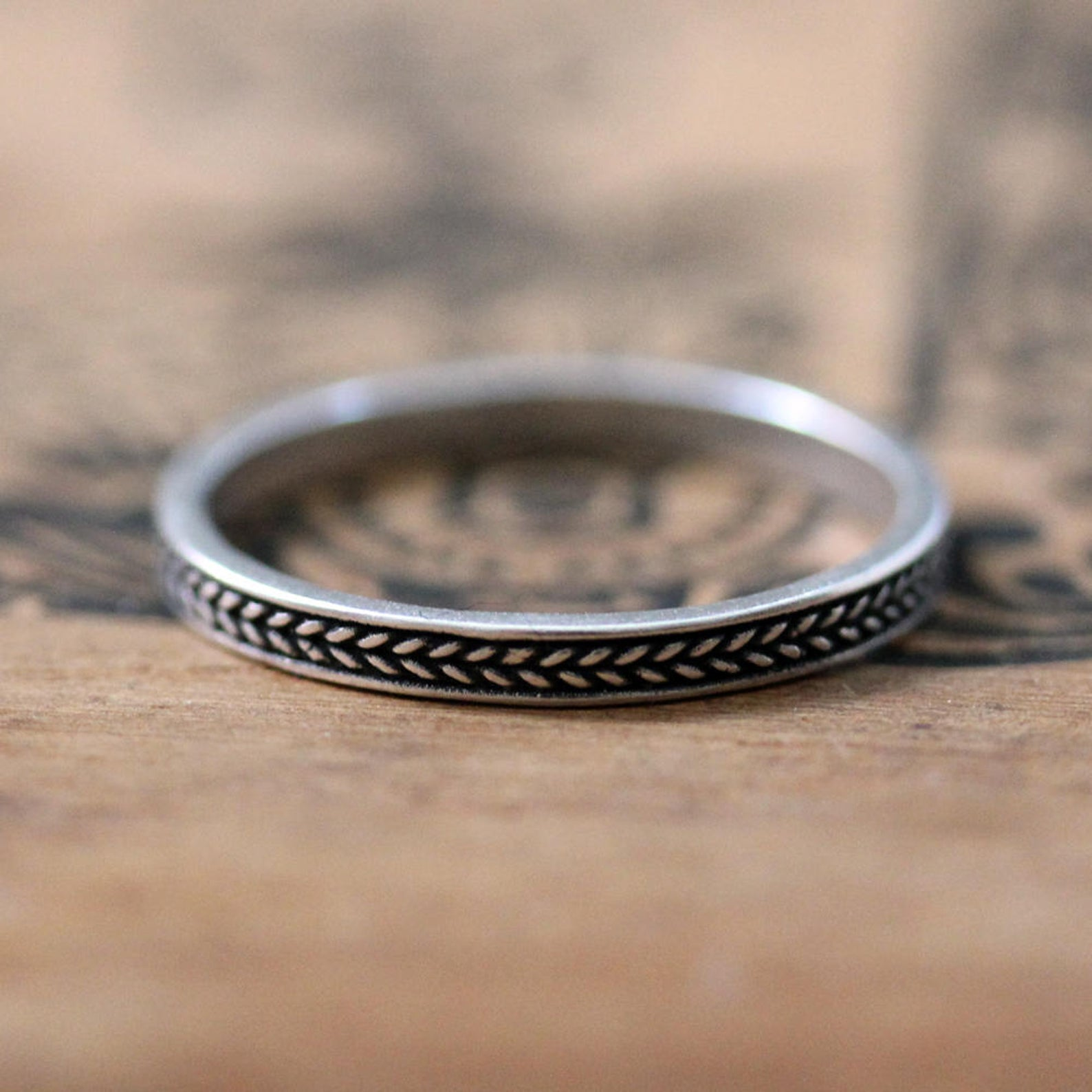 3mm Oxidized Silver Braided Band - Wheat