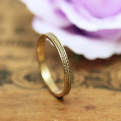 14k Gold Braided Wedding Band, 3mm Wheat ring