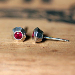 handmade-ethical-Tiny-Ruby-Faceted-Silver-Stud-02