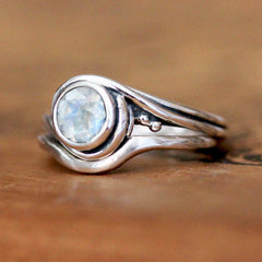 Custom handmade engagement ring set with rainbow moonstone from Metalicious