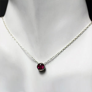 Wrought-Silver-Bezel-Necklace-with-Imitation-Ruby