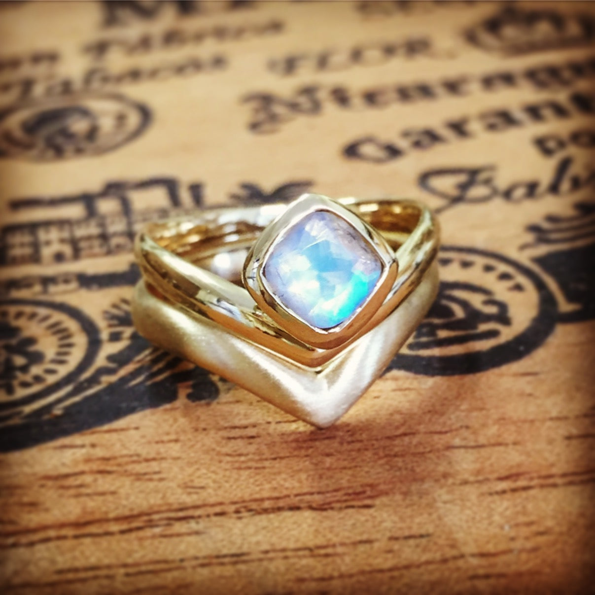 Rainbow Moonstone Engagement Ring Set, Gold Arrow