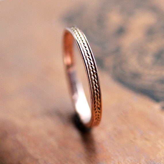 Braided rose gold ring-handmade-ethnic1