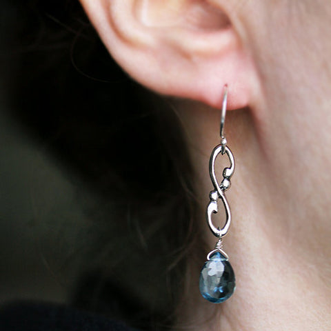 handmade-ethical-Wrought-swirl-London-blue-topaz-earrings-02