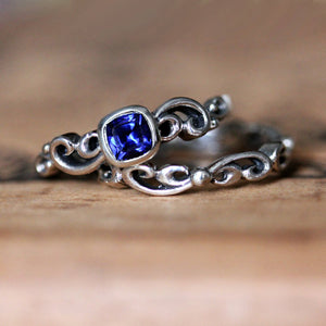 Close-up of sterling silver sapphire bridal set from Metalicious