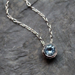 Aquamarine bezel march birthstone necklace