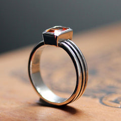 handmade-ethical-Red-Garnet-Modern-Ribbed-Triple-Band-Ring-03