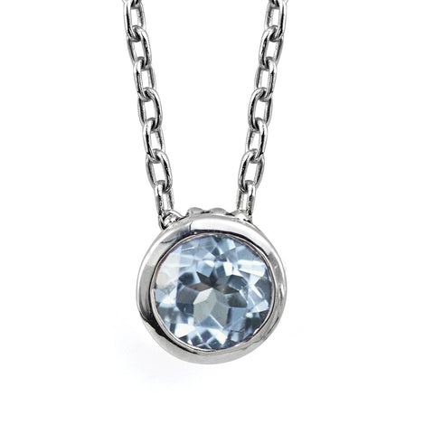 round aquamarine solitaire bezel necklace