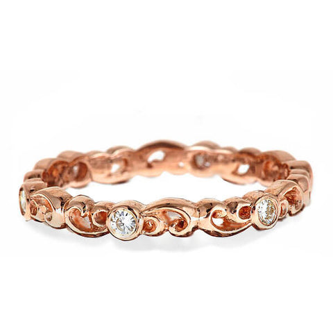 moissanite eternity band rose gold