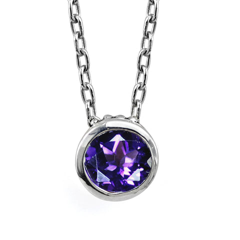 amethyst-solitaire-bezel-necklace in sterling silver