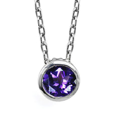 Sterling silver solitaire necklace with amethyst gemstone.
