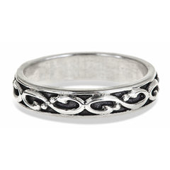 mens infinity wedding band in sterling silver that is oxidized