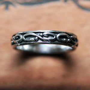 Oxidized mens infinity wedding band