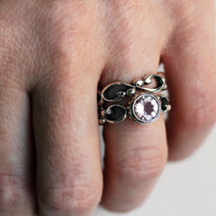 Handmade morganite engagement ring set from Metalicious being worn
