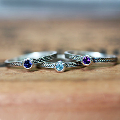 Birthstone stacking rings-handmade-ethnic2