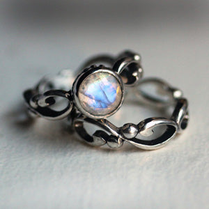 #2A Rainbow Moonstone-Sterling-Silver-Wrought-Engagement-Set-2