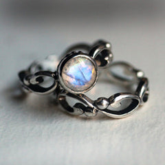 Oxidized sterling silver moonstone ring set