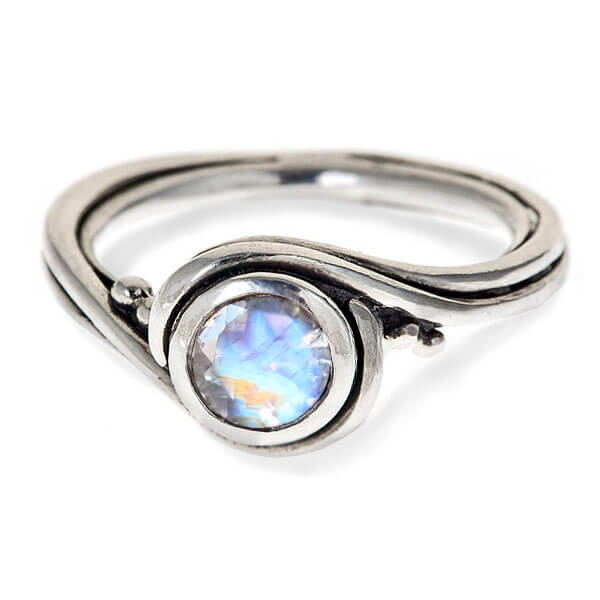 rainbow moonstone engagement ring silver