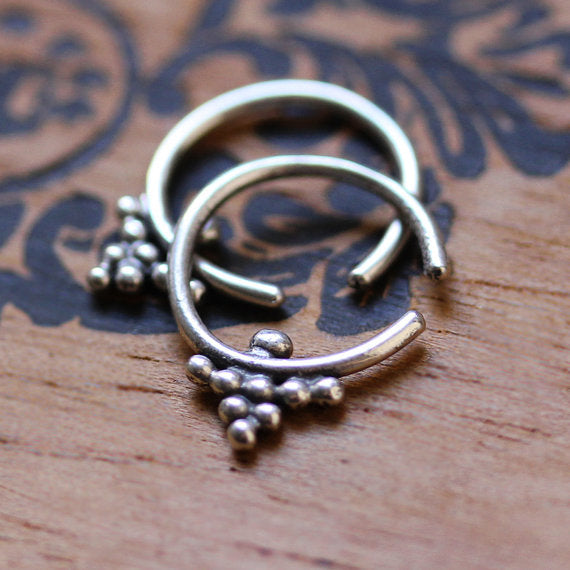 Tiny silver beaded hoop earrings