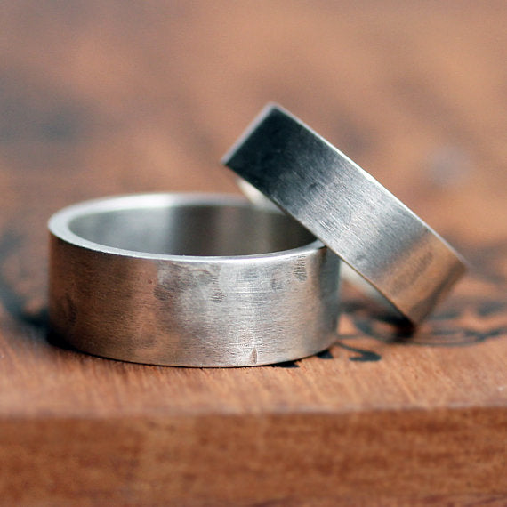 handmade-ethical-Wide-Rustic-Rock-Silver-Wedding-Band-Set-02
