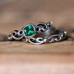 created emerald engagement ring set
