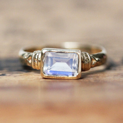 Moonstone Emerald Cut Ring, 14k Yellow Gold, Anne Brontë