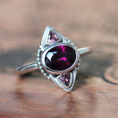 Rhodolite Garnet and Pink Tourmaline Multi Stone Ring in Sterling Silver, Artemis