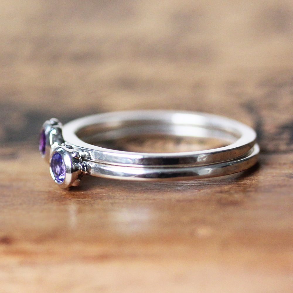 Birthstone Stacking Rings, Wrought