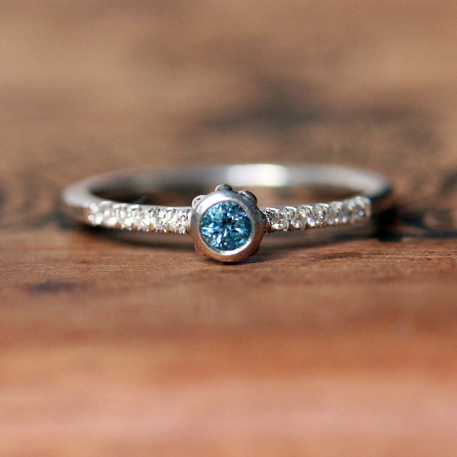 Birthstone Stacking Rings with Moissanite, Wrought