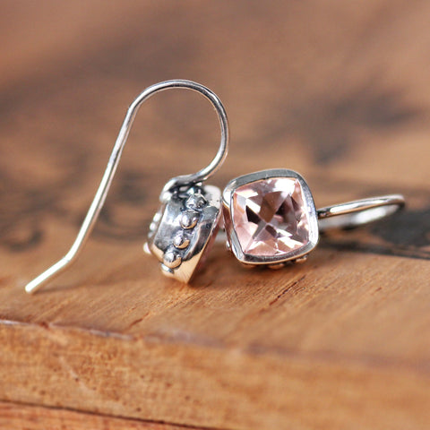 Morganite Cushion Drop Earrings - Wrought Collection