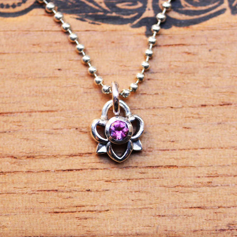 Pink Tourmaline Petals Necklace, sterling silver