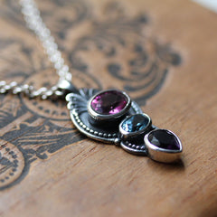 Swiss Blue Topaz, Pink Topaz and Amethyst Multi Stone Pendant in Sterling Silver, Hera