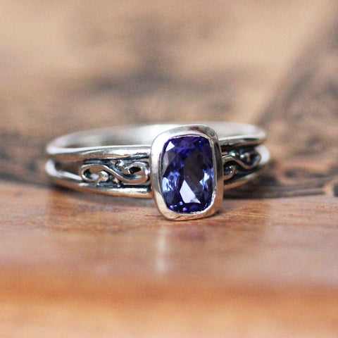 Cushion Tanzanite Infinity Ring