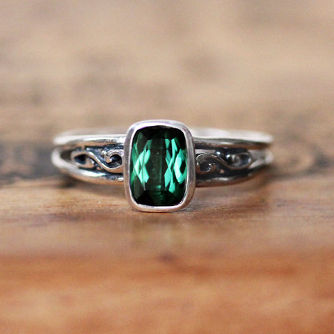 Cushion Tourmaline Infinity Ring