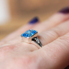 Modern Blue Topaz Cocktail Ring, sterling silver