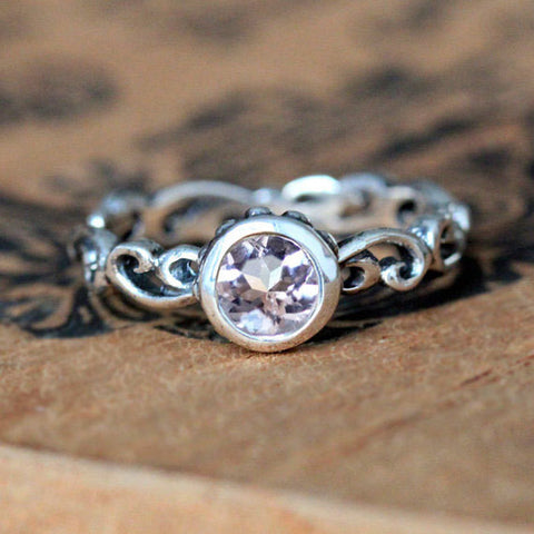Morganite Water Swirl Ring