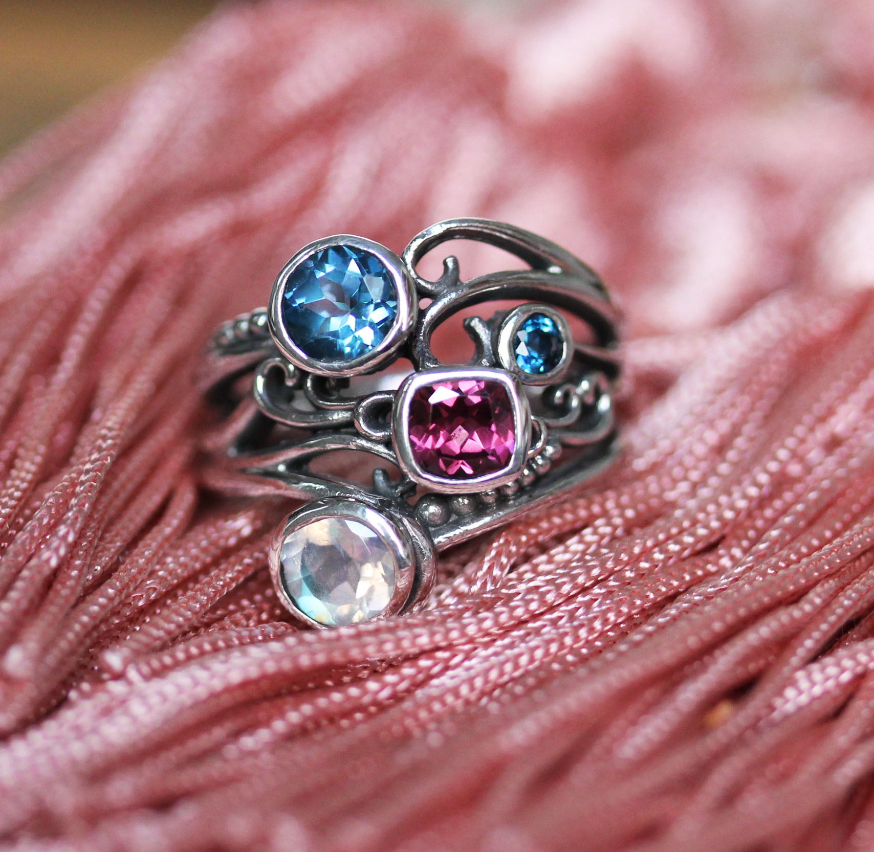 Rhodolite Garnet, Topaz, Moonstone Multi Stone Ring in Sterling Silver, Oracle