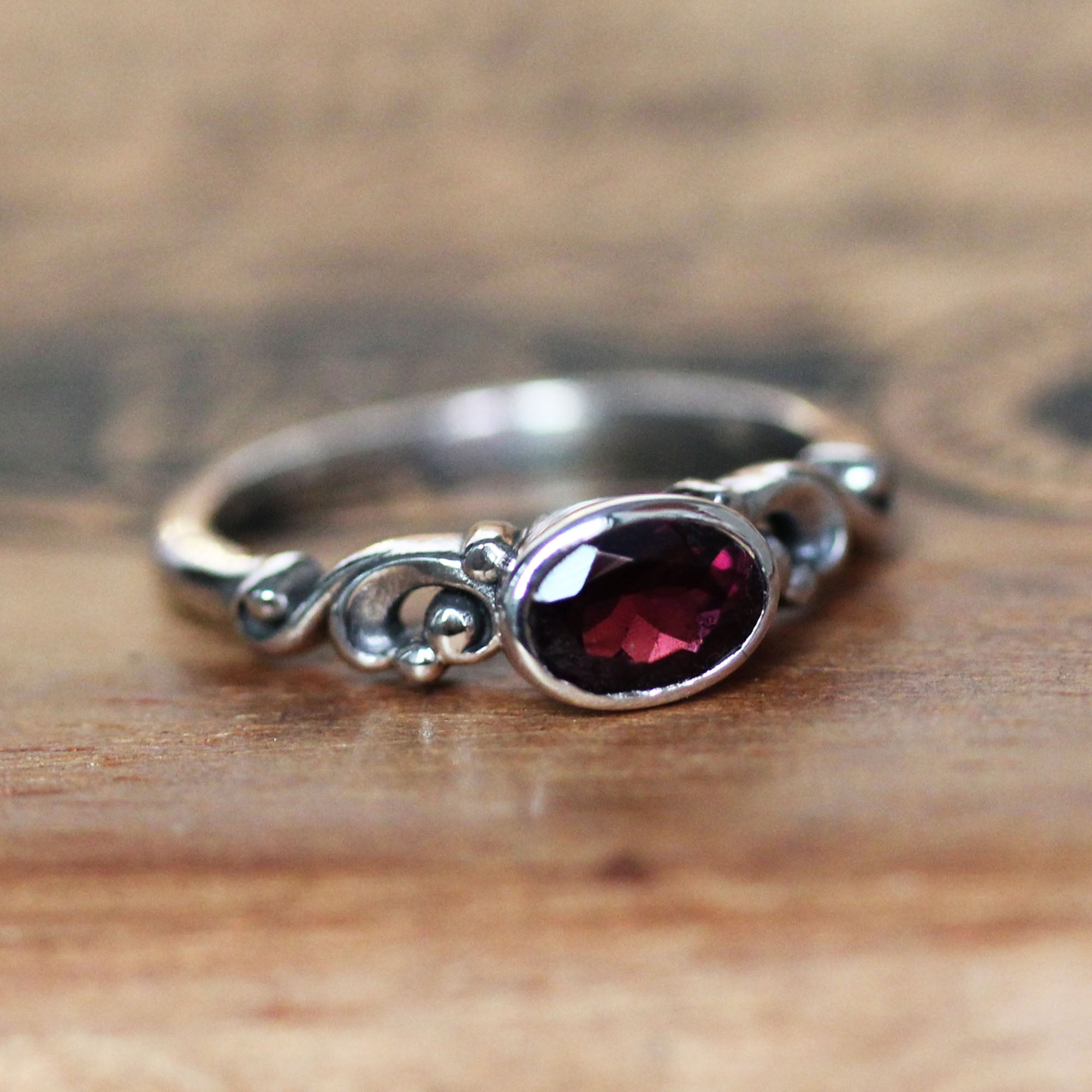 Rhodolite Garnet Oval Water Ring Sterling Silver, Water Dream, Size 6.5