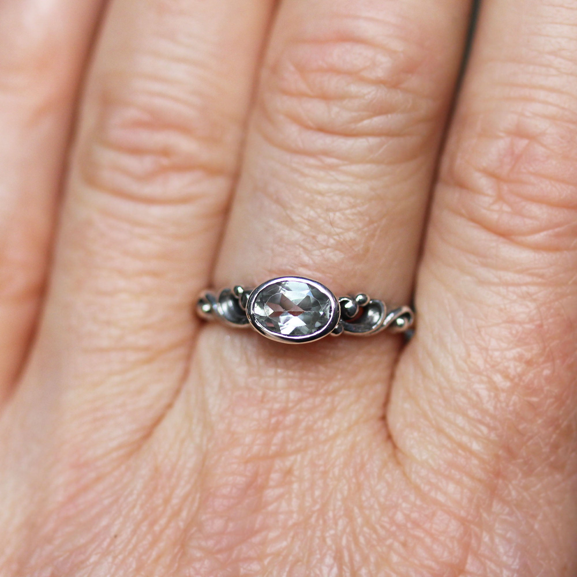 White Topaz Oval Water Ring Sterling Silver, Water Dream