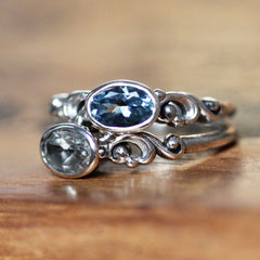 Aquamarine Oval Water Ring Sterling Silver, Water Dream