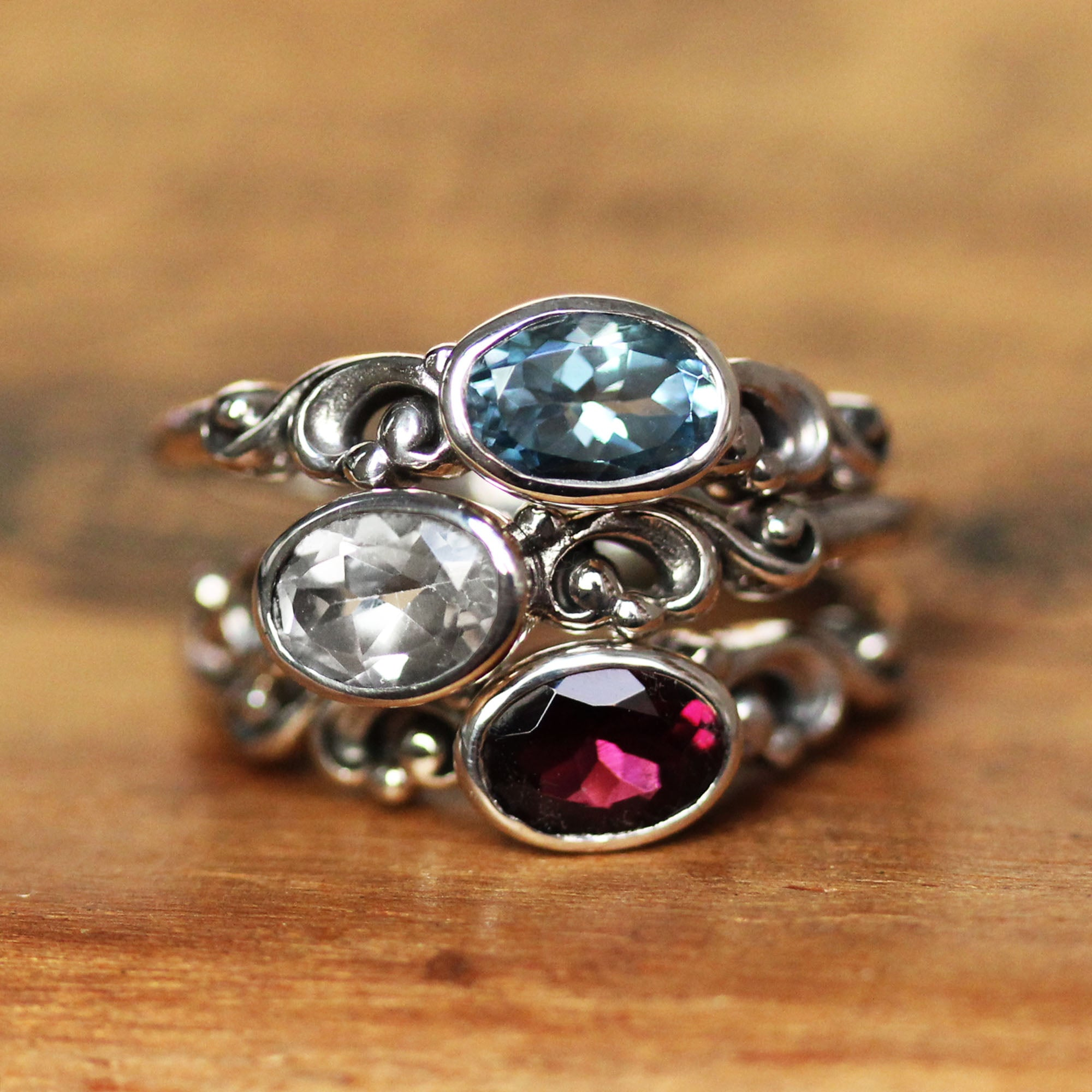 Rhodolite Garnet Oval Water Ring Sterling Silver, Water Dream