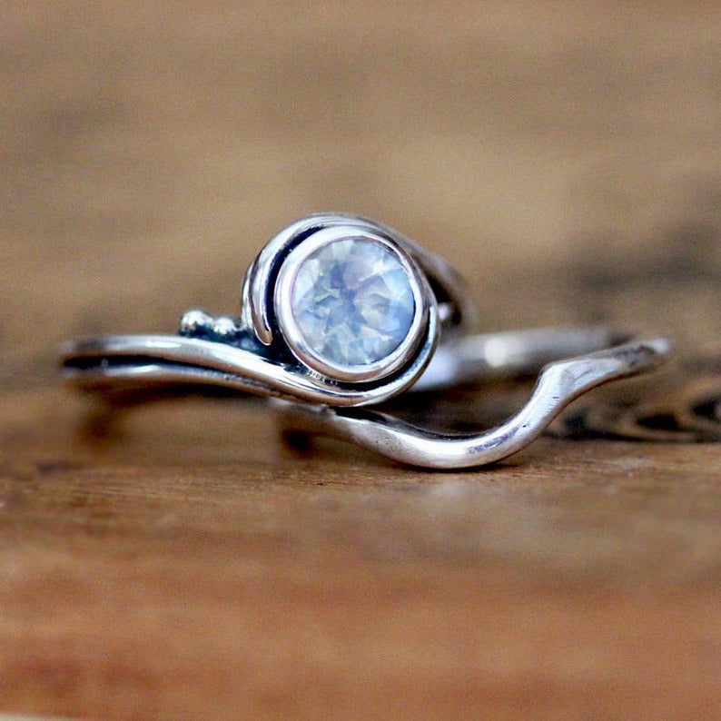 Platinum Moonstone Engagement Ring Set