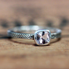 Sterling Silver Morganite Engagement Ring, Braid Wheat Band
