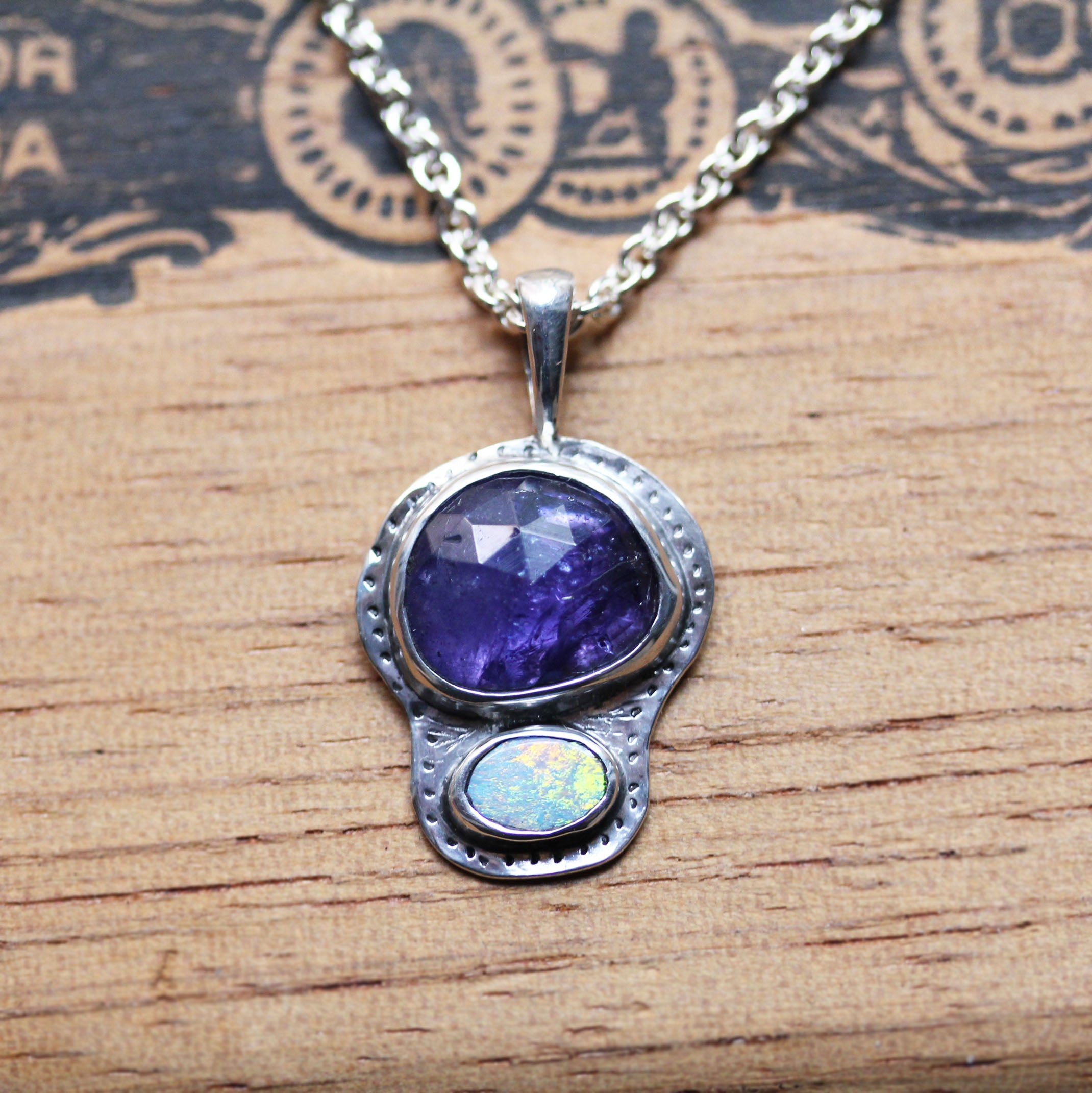 Freeform tanzanite and opal necklace ethical sterling silver